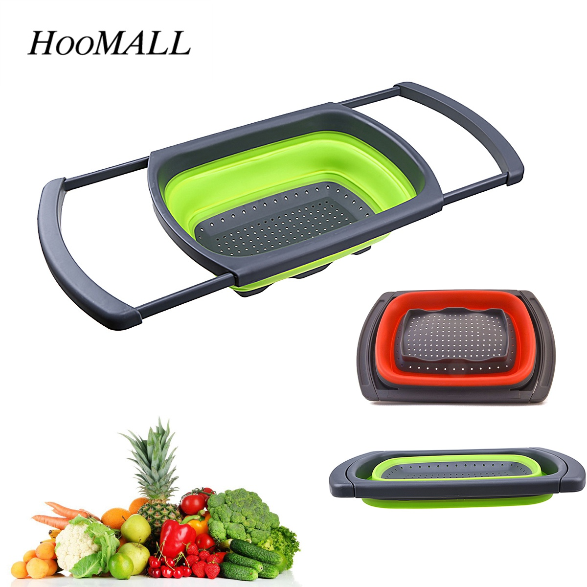 Hoomall 1pc Foldable Drain Basket Colander Sink Vegetable