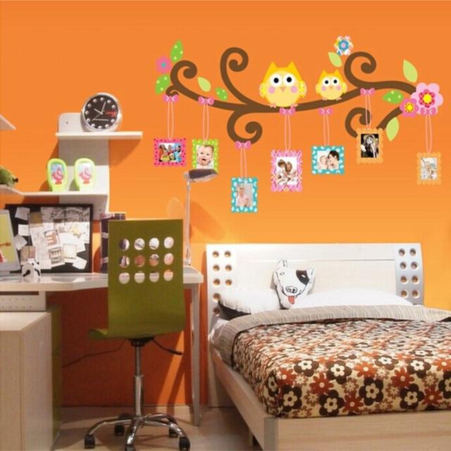 Stiker dinding kartun burung hantu bingkai foto anak anak ...