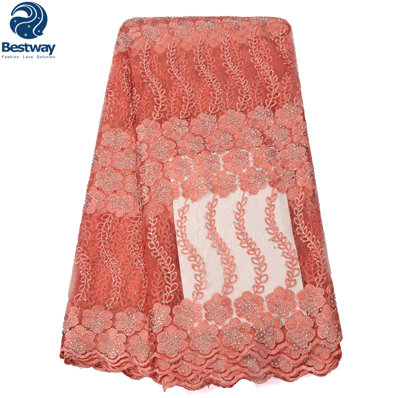 Bestway 2019 Latest High Quality African Tulle Lace Fabric Embroidery French Lace Fabric With Stones Nigerian Wedding Materials