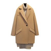 2018 Korean Winter New Camel Wool Tweed Coat Long Loose Profile Woolen Coat