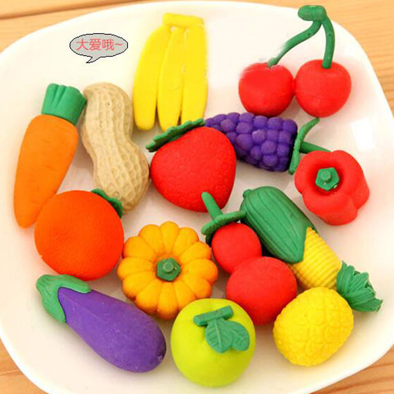 20pcs/lot Fruits And Vegetables Eraser Valentine's Day Gifts Cute Cartoon Style Eraser Primary School Students Prize Presents