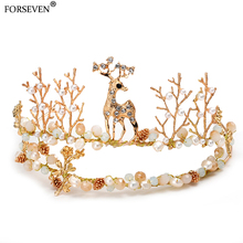 Rose gold Lovely deer Bride Tiaras Crown Colored pearl Alloy Handmade Wedding headdress crystal inlaid hair accessories Jewelry