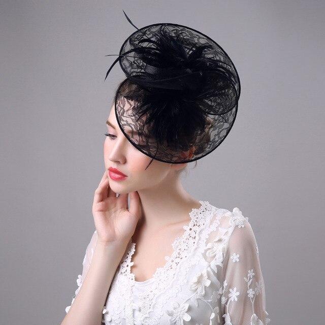 Женщины Curl Бисера Черное Перо Чародей Клип Высокого Качества Способа Новый Свадьба Леди Церковь Кружева Повязка Top Hat Шпильки