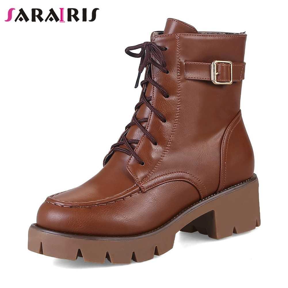 SARAIRIS/Новая модная однотонная обувь на высоком квадратном каблуке, с ремешком и пряжкой, на платформе, со шнуровкой; женские ботильоны; сезон осень-зима; Цвет Черный