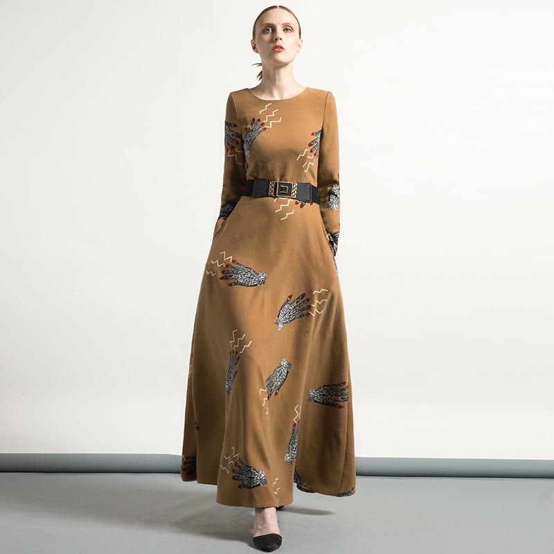 DF Luxus Vintage Wolle Jacquard Oansatz Herbst Winter Kleid OL ...