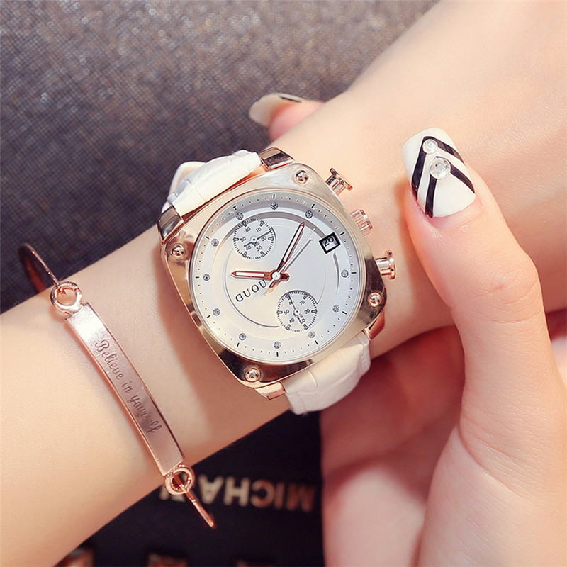 GUOU Watches Women Quartz Datejust Wrist Watch Rose Gold Waterproof Leather Datejust Female Clock relojes mujer ceasuri hodinky cartoon gold horse print blue leather strap sports ladies quartz watch relojes hombre 2017 bayan saat women watches hodinky b133