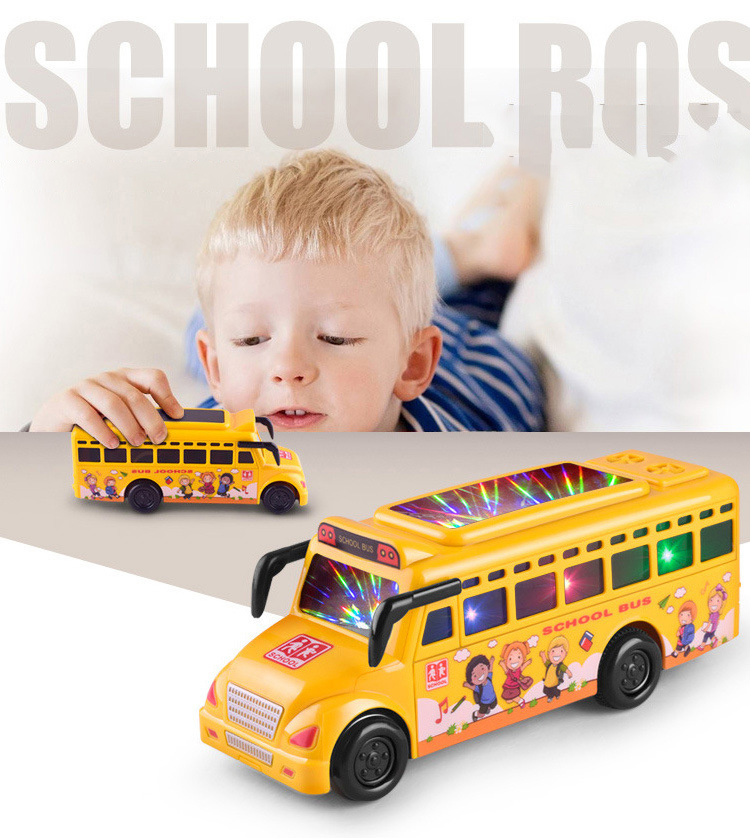 Baby Toys Car Cute Plastic Luminous Inertia Toy Car School Bus Model Children's Day Gifts Early Education Toy Room Decoration