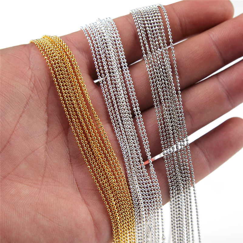 10pcs/lot 1 mm Metal Ball Bead Link Chains Gold Silver Plates