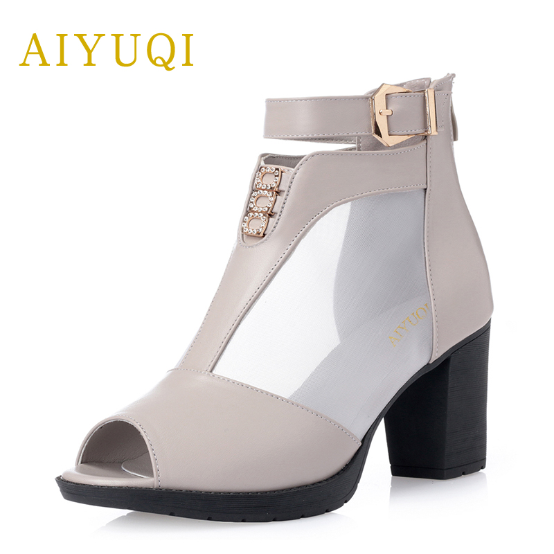 Rapture Aiyuqi Fashion Woman Shoes 2019 Heel Genuine Leather Womens Summer Sandals Comfortable And Stylish Mesh Dress Shoes Women 100% High Quality Materials Shoes Heels