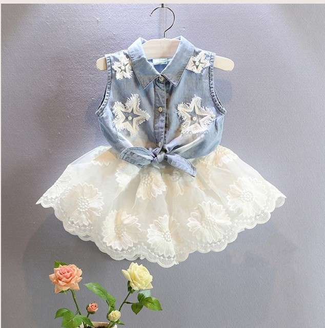 Pantalones CCSME DHL niño gratis Niñas niños 2 unid Traje de Mezclilla top + Falda de Encaje Traje Casual Ropa Infantil Bebé del Estilo del Verano ropa