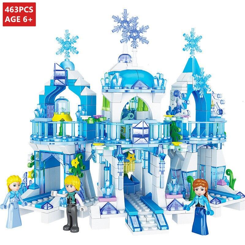 463Pcs Lainio Snow Village Castle Building Blocks Christoph Princess Castle Friends Bricks Toys for Girls