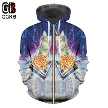 OGKB Galaxy Space Hooded Sweater Rits Bovenkleding Pizza Kat 3D Gedrukt Hoodies Voor Vrouwen Mannen Zip Up Hoody Trainingspakken Dropship(China)