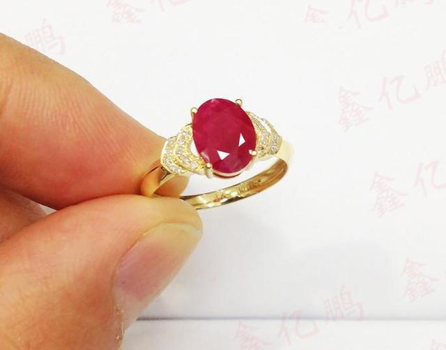 18 k gold inlaid natural Burmese ruby ring female 1.6 carats luxury and generous Birthday gift 2