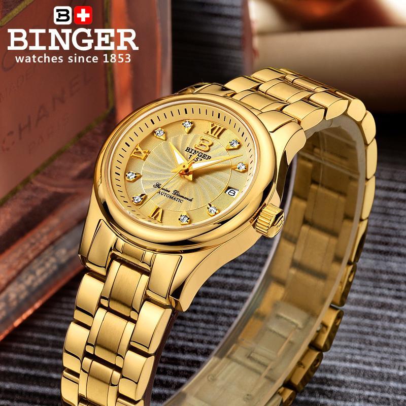 Dameshorloges Luxe merk Zwitserland BINGER 18K goud mechanisch - Dameshorloges - Foto 5