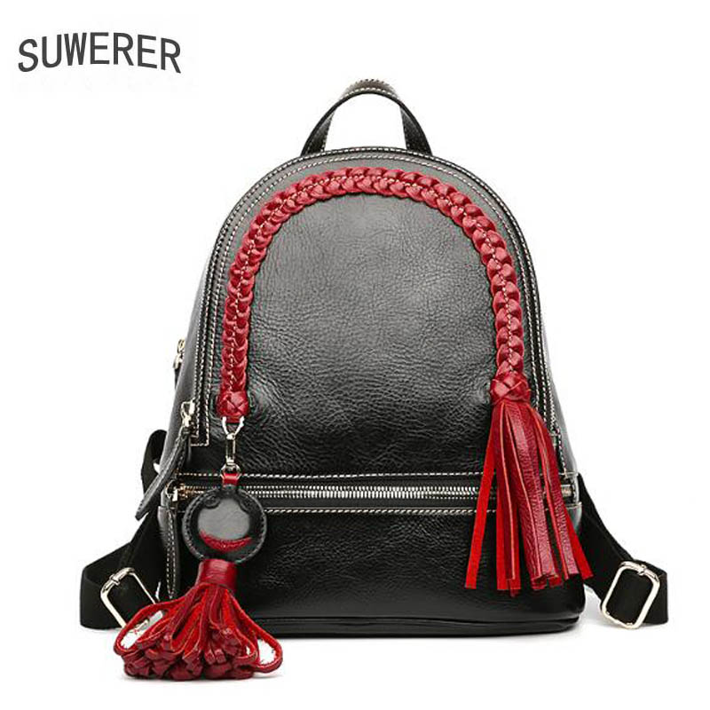 SUWERER New Genuine Leather backpack women luxury backpack women bags Top cowhide designer bags women backpack fashion bag hot sale women s backpack the oil wax of cowhide leather backpack women casual gentlewoman small bags genuine leather school bag