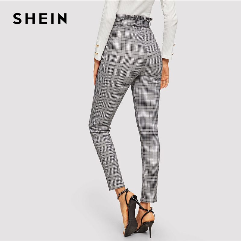 SHEIN Grey Paperbag Waist Plaid Cigarette Pants Belted High Waist Pencil Pants Women Spring Casual Office Lady Workwear Trousers 2