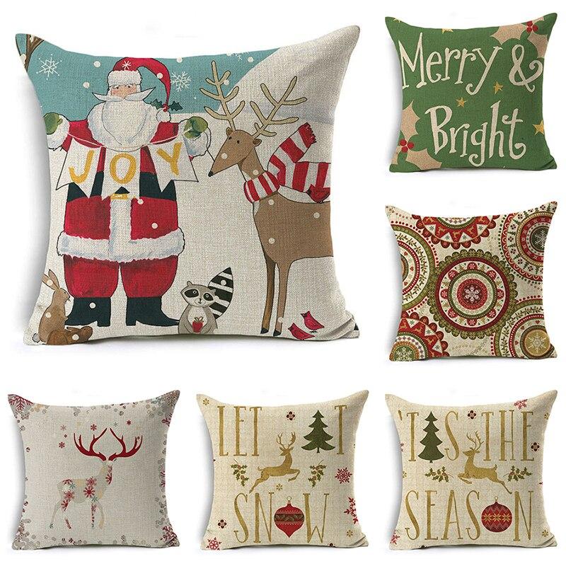 decorUhome Christmas Tree Pillow Cover Santa Claus Snowman Cushion Cover Letters Decorative Throw Pillow Case Sofa Home Decor