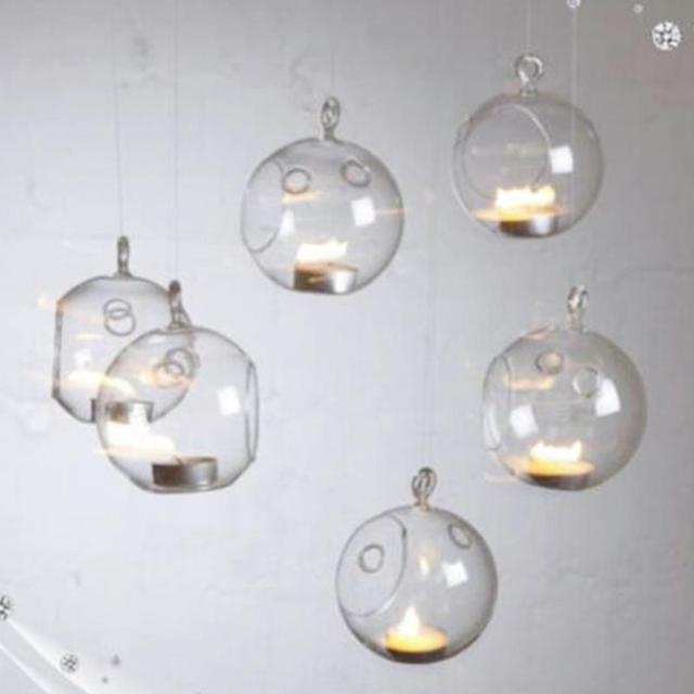 Set Of 6 Hanging Glass Bauble Tea Light Candle Holder Xmas