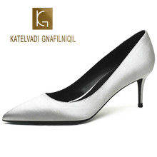 KATELVADI Woman Shoes Pumps Stiletto 6.5CM Women Heels Chaussure Femme Talon Black Bottom High Wedding Shoes,K-327