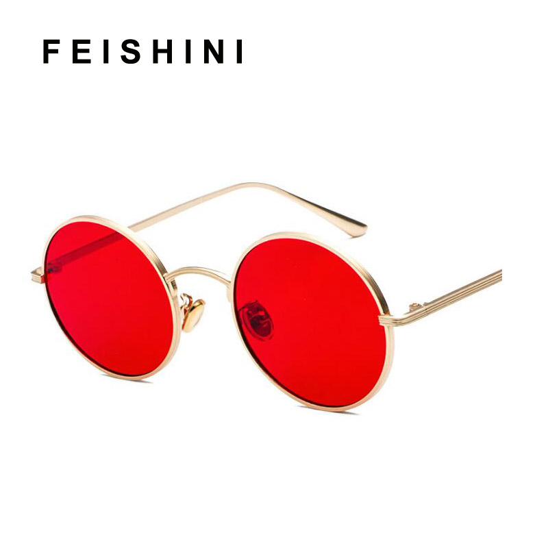 RED Lens male Brand Classic Steampunk Sunglasses Women Round Metal Decorative Pattern Vintage Yellow Mirror Punk Sunglass Men in Women 39 s Sunglasses from Apparel Accessories