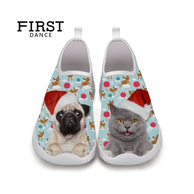 FIRST DANCE Fashion Cute Animal Flat-Bottomed Shoes Women 3D Dog Printed Loafers Ladies Slip On Casual Nice Shoes Woman Loafers