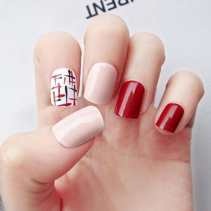 Fashion Fake Nails Wine Red False Nails Tips Natural Pink Crossing Pattern DIY Nail Art Full Cover Nails Z054