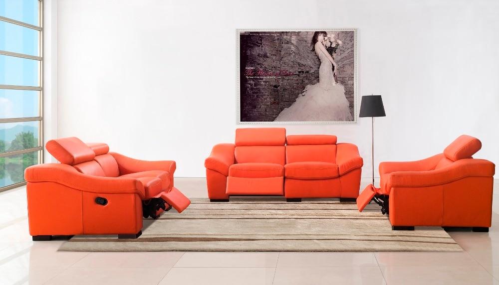 Real Genuine Leather Living Room Sofa Set Furniture / Living Room Sofa  Recliner 1+2