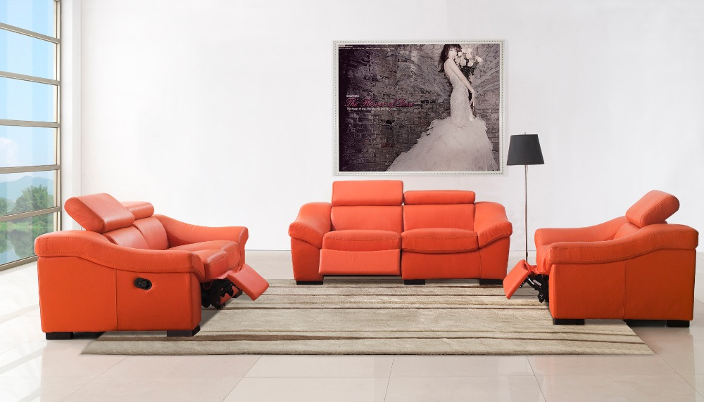 Real Genuine Leather Living Room Sofa Set Furniture Recliner 1 2 3 Seater Orange Color For Stock Discount