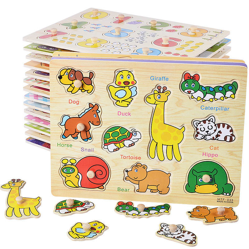 10 stil Block Puzzle Puzzles aus Holz Baby Spielzeug 3D-Puzzles Puzzles