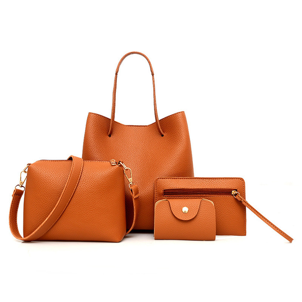 4 Piece / Set PU Leather Tote Vintage Crossbody Bag Solid Color Zipper Shoulder Bag For Women