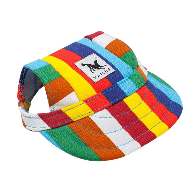 e6021e7f086 TAILUP Dog Hat With Ear Holes Summer Canvas Baseball Cap For Small Pet Dog  Outdoor Hiking Pet Products -10 Styles S M L XL