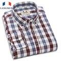 Langmeng 2016 весна осень мужская мода 100% хлопок марка с длинным рукавом плед рубашки мужчины ретро стиль vintage повседневная рубашка мужчины