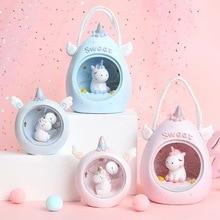 все цены на Kawaii Cartoon Unicorn LED Night Light Baby nursery Decor Table Lamps Kids Baby Toys Birthday Gift for Home Novelty Lightings онлайн