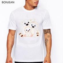 New design Kawaii Bear Cartoon Print White T shirt men Happy Men's Top Cute Short Sleeve Casual vogue T Shirt homme bear print top