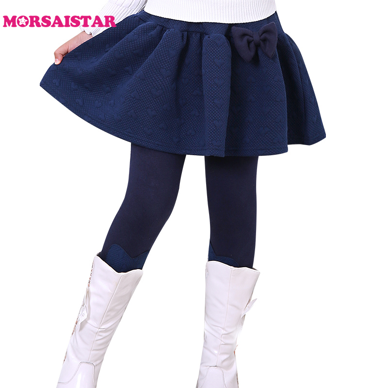 2017 fall winter warm leggings with skirts girls tutu skirt brushed and thicken legging meisjes infantil