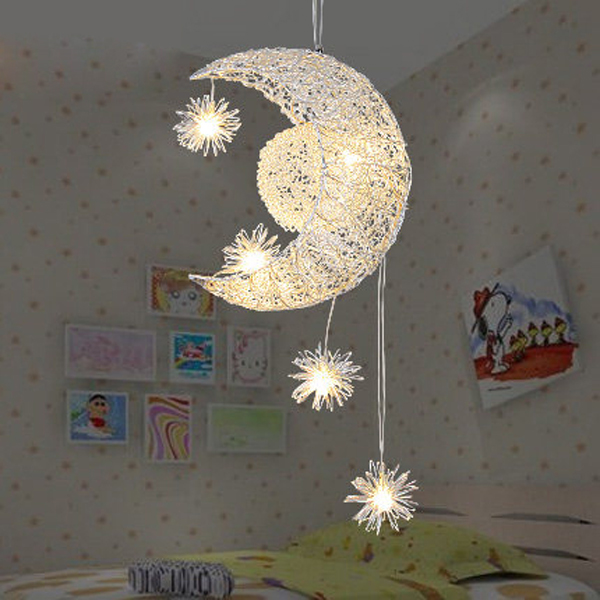 LED Aluminum pendant lights fashion wire lamps moon brief child lighting Pendant lamps Children toy modern lamps ZA