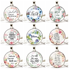 Women Glass Pendant Necklace Bible Verse Print Cabochon Silver Plated Chain Religious Jewelry Christmas Gifts