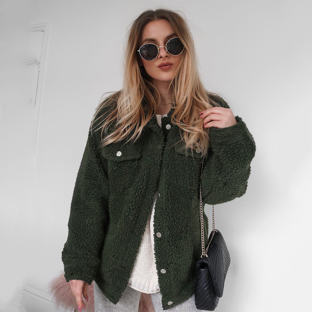 Outerwear Winter Faux Fur Coat Warm Furry Women Button Coats Turn-Down Collar Jacket Ladies Pocket Fur Coats Oversize A4