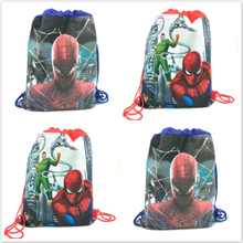 1pcs Spider Man non-woven fabric backpack party supply child travel school bag decoration mochila drawstring