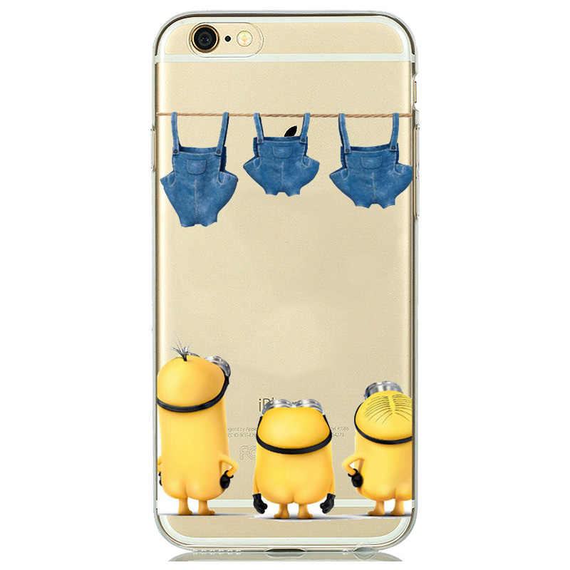 purchase cheap e034b 0a4ce Cartoon Clear Despicable Me Yellow Minion Case Cover for iPhone 7 8 6s 6 5s  SE Phone Cases Slim Soft TPU Silicone Cover capinhas