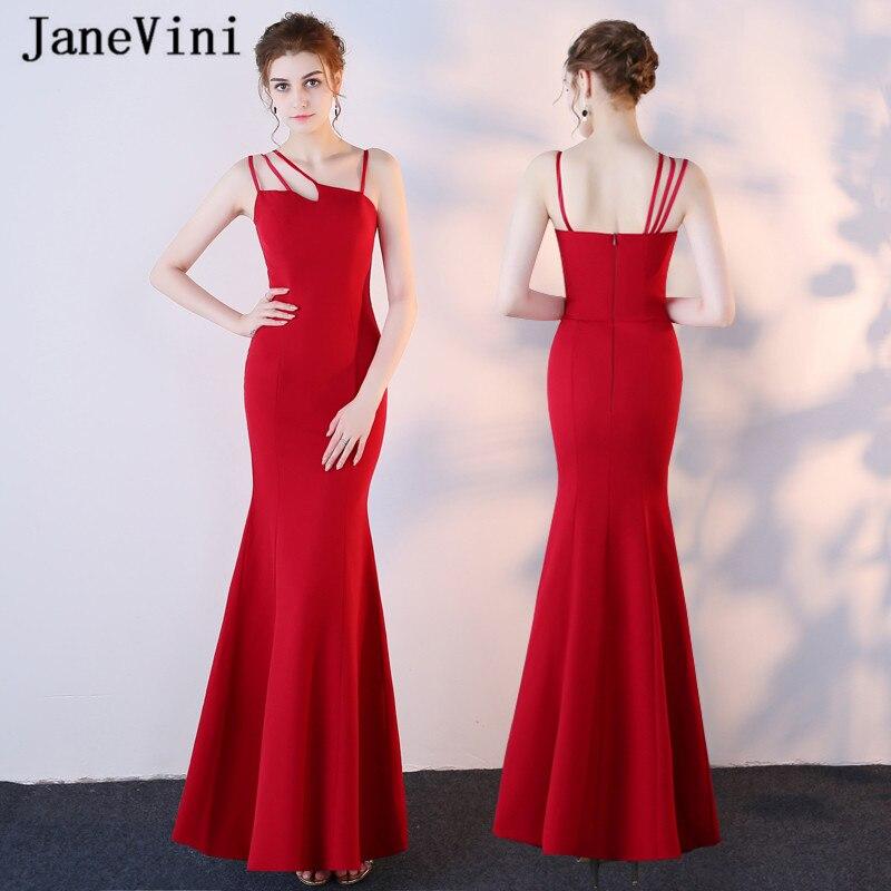 JaneVini Vestidos Satin rouge grande taille mère de la mariée robes 2018 sirène plis dos nu Simple robes de soirée longueur de plancher