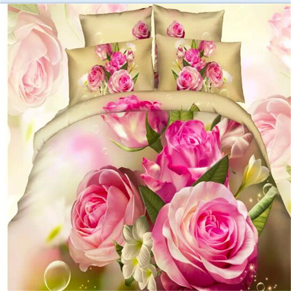 100% Cotton Red Rose Princess Wedding Duvet Cover Sets Queen Size ...