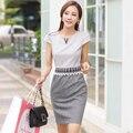 Spring and summer white collar women's one-piece dress V-neck diamond slim elegant high quality hip slim one-piece dress 7821