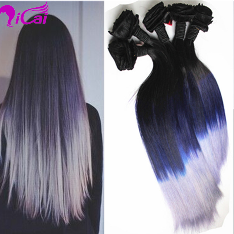 Ombre 1B Dark Blue Silver Grey Clip In Hair Unprocessed Brazilian Virgin Hair 100g/set Ombre Clip In Human Hair Extensions