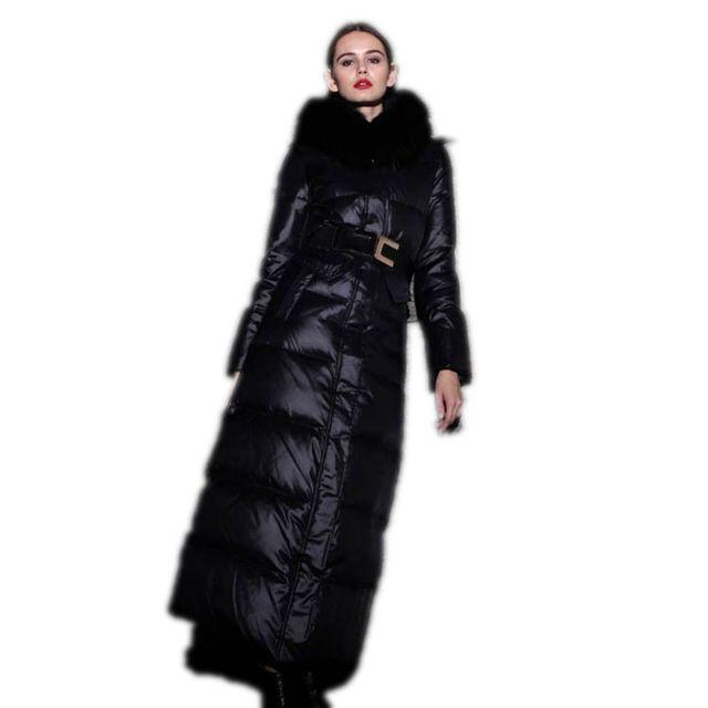 X-long Winter Jacket Women Rojo Abajo de la Capa 2017 Nuevo Lujo gran Cuello de Piel Con Capucha chaqueta de Las Mujeres Abrigos de Invierno Delgado Parka M364