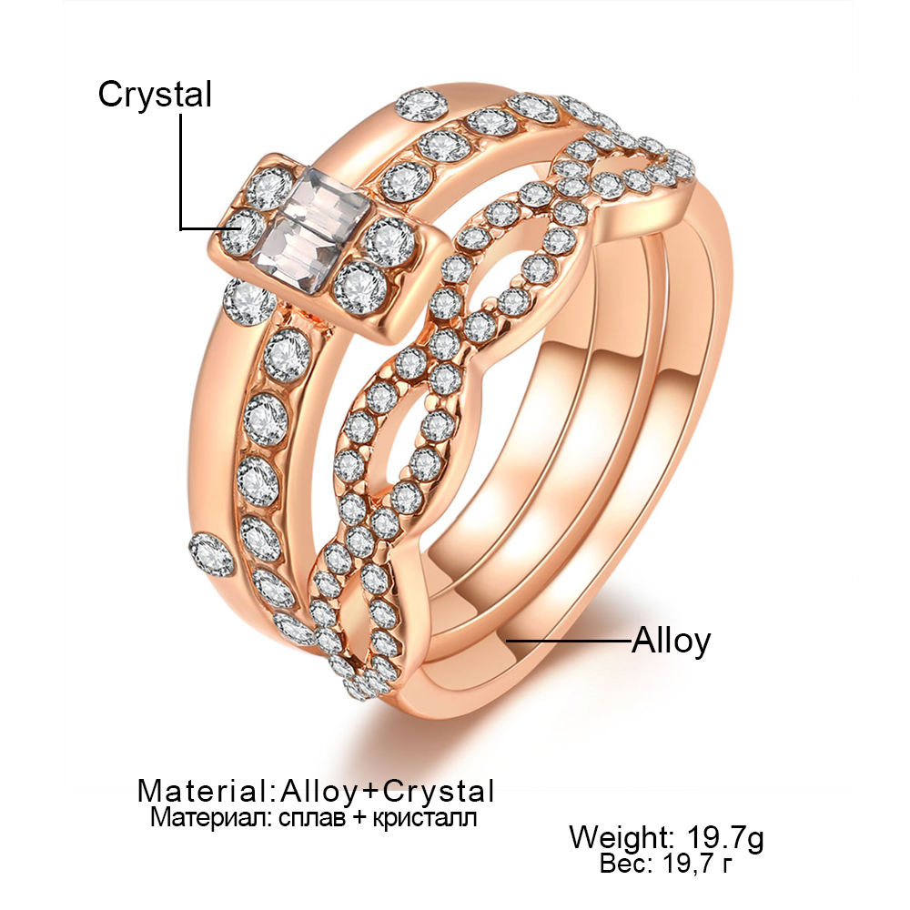 3Pcs/Set Fashion Infinity Rings Set For Women Girls Crystal Twist Ring Couples Gold Female Engagement Wedding Jewelry 2018 New