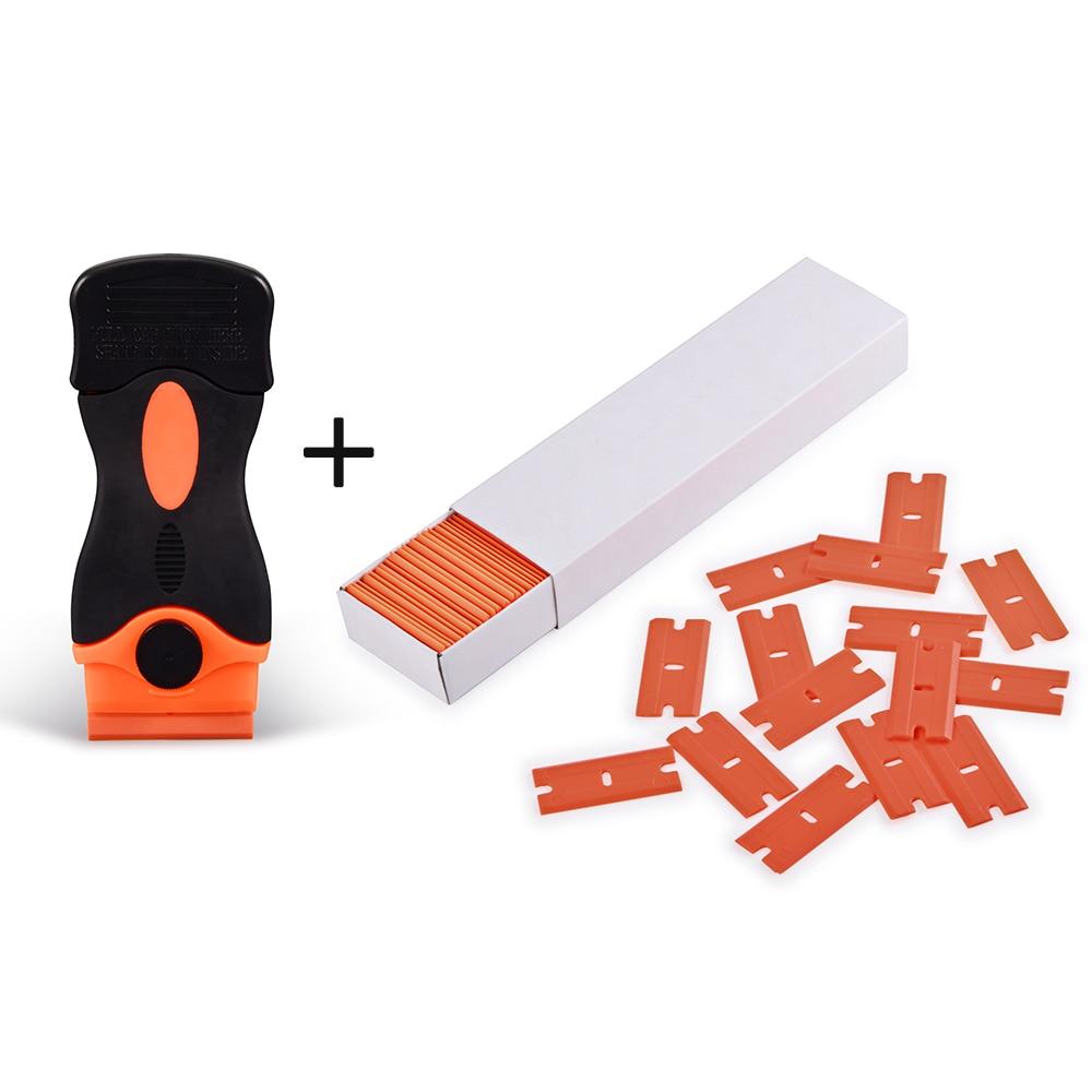 EHDIS Carbon Fiber Car Tools Vinyl Car Wrap Razor Scraper+100Pcs Plastic Razor Blade Cleaning Squeegee Glue Film Sticker Remover