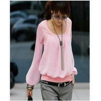 2013 Spring New Korean Women Chiffon T Shirt Long Sleeved Puff Sleeve Round Neck Fake Two