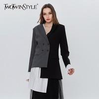 TWOTWINSTYLE Patchwork Pleated Chiffon Women Blazer Flared Sleeve Asymmetrical Spring Women S Jackets Suit Coat Female