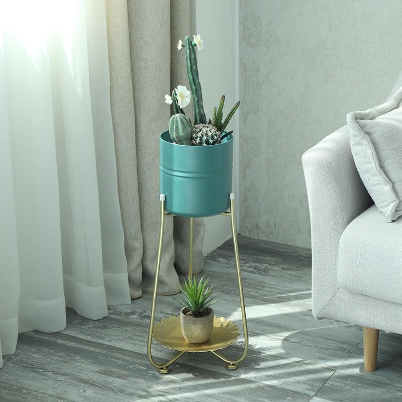 Wrought Iron Flower Flower Sitting Room Floor Outdoor Single Shelf Floor Balcony Flowerpot Wearing Wleshy Courtyard Multi-Functi